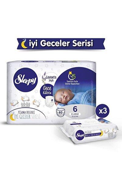 Sleepy Gece Külotu Lavanta Yağlı 6 Numara Xlarge 60 Adet + Lavanta Yağlı Masaj Ve Temizlik Havlusu 3X40
