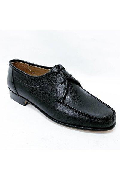 stok83 Erkek Siyah Hakiki Kösele Ayakkabı
