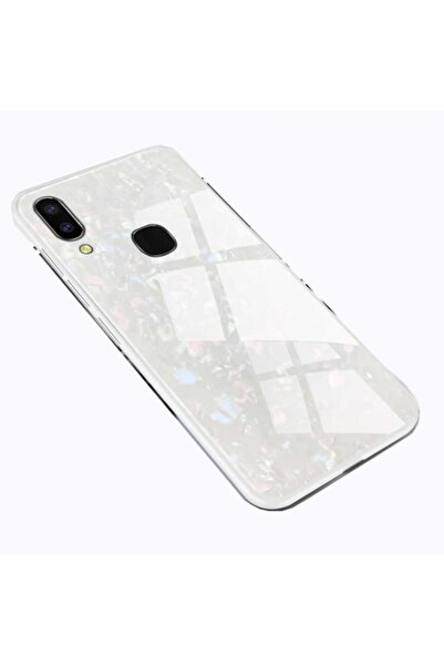 Huawei Teleplus P20 Lite Marbel Desenli Cam Silikon Kılıf Beyaz