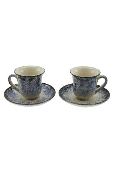 OTANTİK ÇİNİ Koyu Mavi Ebrulu Ikili Kahve Fincan Takımı