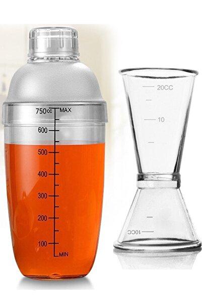 Leva House Polikarbon 750ml Şeffaf Kokteyl Shaker Karıştırıcı Ve 1/2 Cl Jigger Set