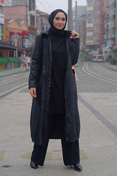 Micca Kadın Siyah İşleme Detaylı Şişme Mont
