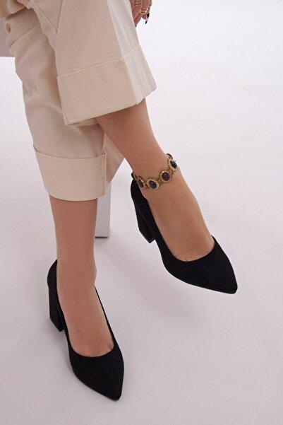 Fume London Kadın Siyah Süet Kalın Topuklu Stiletto Ayakkabı