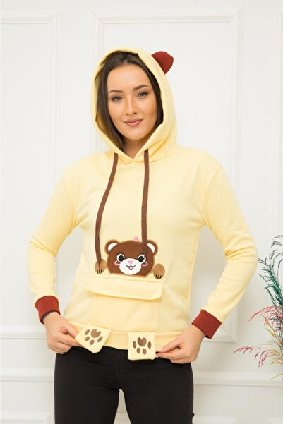 TREND Kadın Sarı Ayıcıklı Sweatshirt