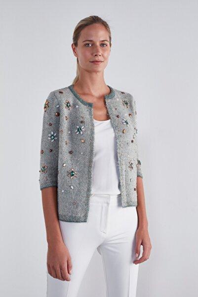JOIN US Kadın Yeşil Taş İşlemeli 3/4 Kol Triko Ceket