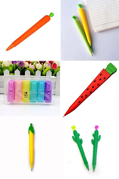 Patladı Gitti I Love Dıy Mottolu 6'lı Mini Fosforlu Kalem Ve 5'li 0.7 Uçlu Versatil Kalem Seti