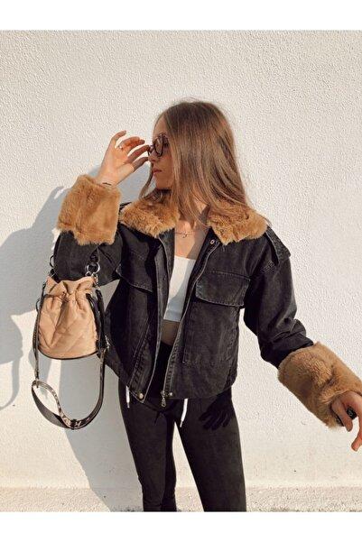 Housebutik Kadın Kol Ve Yaka Kürklü Içi Astarlı Kot Ceket