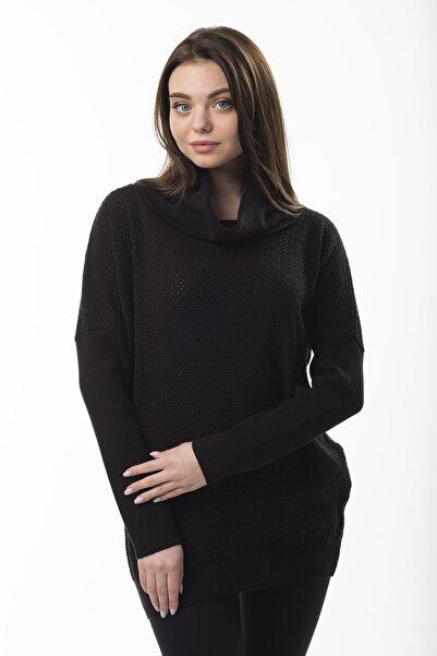 STAMINA Kadın  Siyah Degaje Yaka Kazak 2fm8501