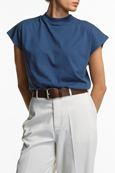 BASIC&CO Dik Yaka Mavi T-shirt