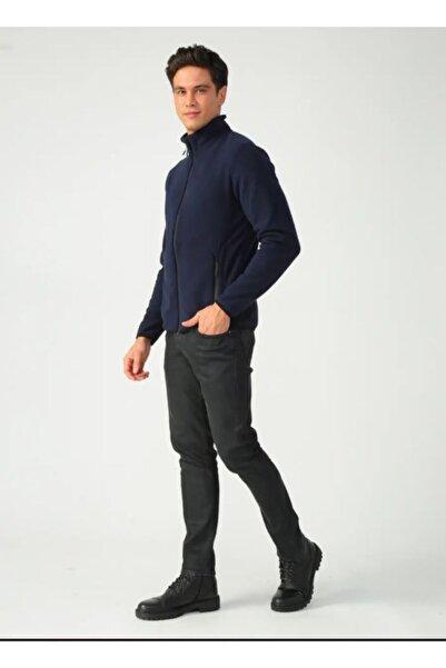 NATIONAL GEOGRAPHIC Erkek Lacivert Boydan Fermuarlı Sweatshirt