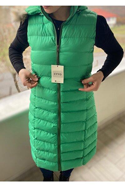 Eyyo Kadın Açık Yeşil Uzun Şişme Yelek