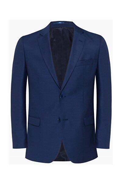 hateko Erkek Mavi Dar Kesim Küçük Bezayağı Desenli Yün Ceket