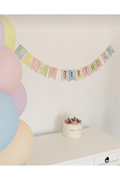 giftzone Pastel Renkler Happy Birthday Banner  Makaron