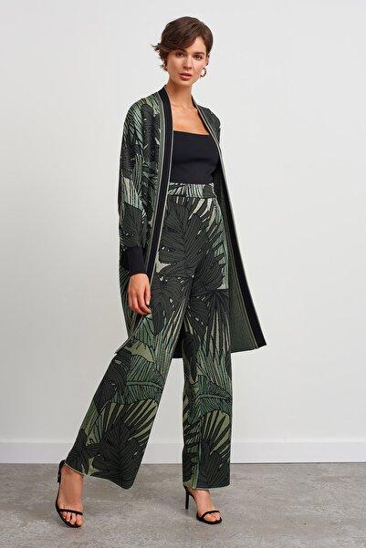 JOIN US Kadın Yeşil Yaprak Desenli Pantolon
