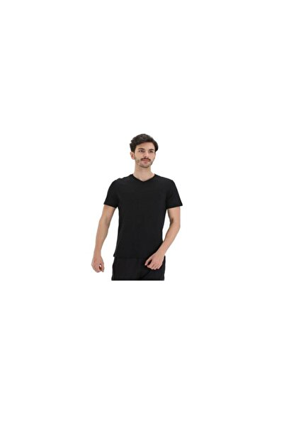 Exuma Erkek Siyah Sıfır Yaka Tişört
