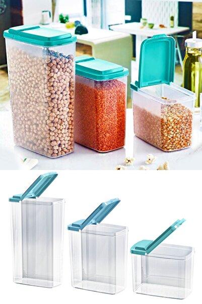 Helen's Home 3 Farklı Boy Kuru Gıda Ve Bakliyat Saklama Kabı Pratik Depolama Erzak Kabı Seti Ak621