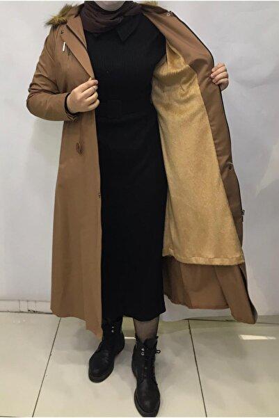 Elegance Kadın Sarı Içi Kürk Astar Trençkot