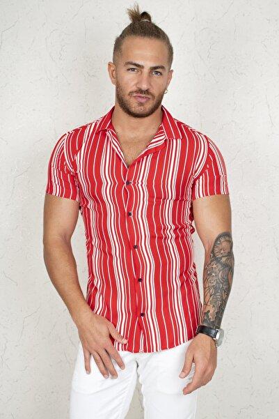 DeepSEA Erkek Kırmızı Çizgili Kısa Kol Gömlek 2002804