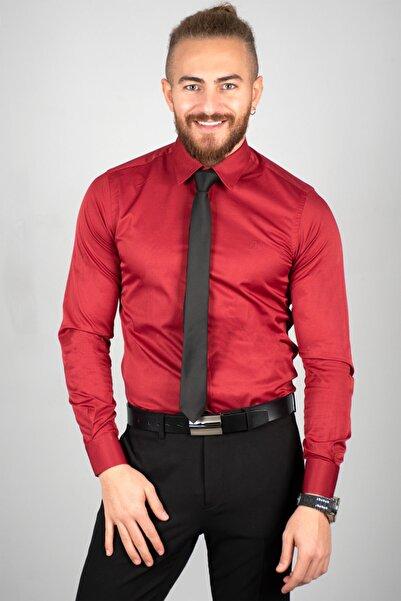 DeepSEA Erkek Bordo Pamuk Saten Klasik Gömlek
