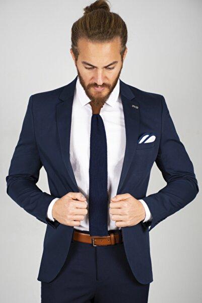 DeepSEA Erkek Lacivert Yırtmaçlı Slim Fit Blazer Ceket 2002278