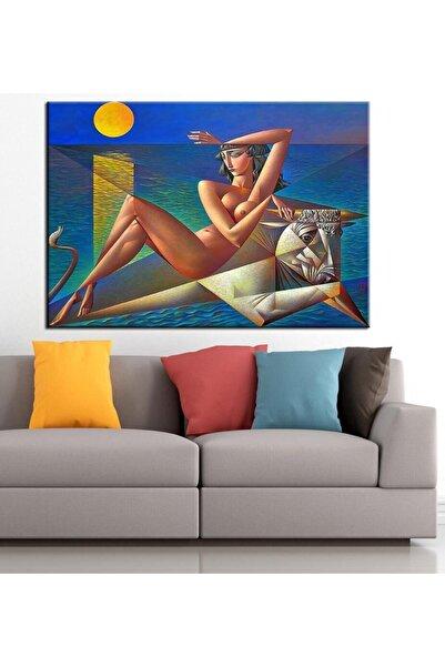 caddeko Kadın ve Boğa Nü Kübik Yağlı Boya Görünüm Kanvas Tablo 50x70cm
