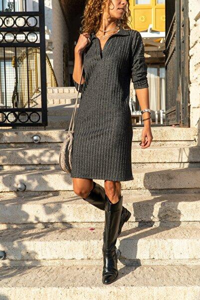 Güneşkızı Kadın Antrasit Polo Yaka Salaş Kendinden Desenli Simli Elbise Gk-bst2988