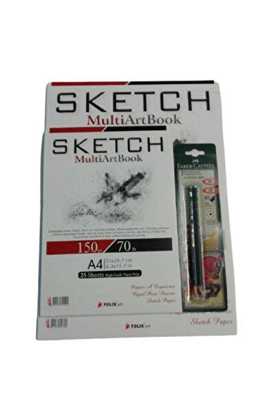 satrik Karakalem Sketchbook Eskiz Çizim Seti A3 Eskiz Defteri+a4 Eskiz Defteri Resim Kalemleri