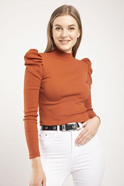 MD trend Kadın Kiremit Prenses Kol Yarım Balıkçı Kaşkorse Crop Fit Bluz