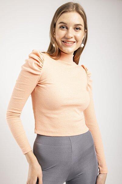 MD trend Kadın Yavruağzı Prenses Kol Yarım Balıkçı Kaşkorse Crop Fit Bluz