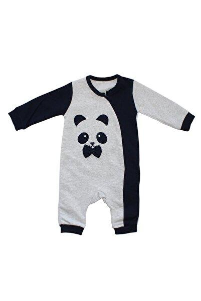 bebegen Panda Nakışlı Erkek Bebek Tulum Gri Lacivert