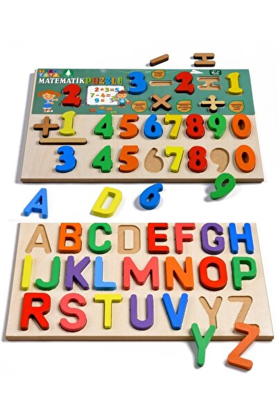 Türk Toys Ahşap Puzzle 2'si 1 Arada Matematik-alfabe
