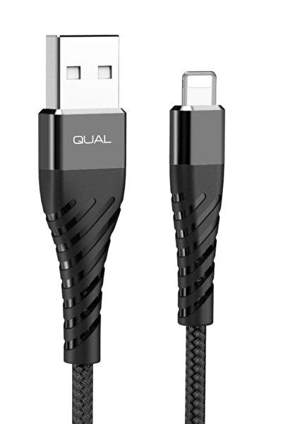 QUAL Apple Serisi Uyumlu Naylon Örgü Kaplamalı Ultra Dayanıklı 3a Hızlı Şarj Kablosu.1mt.-siyah
