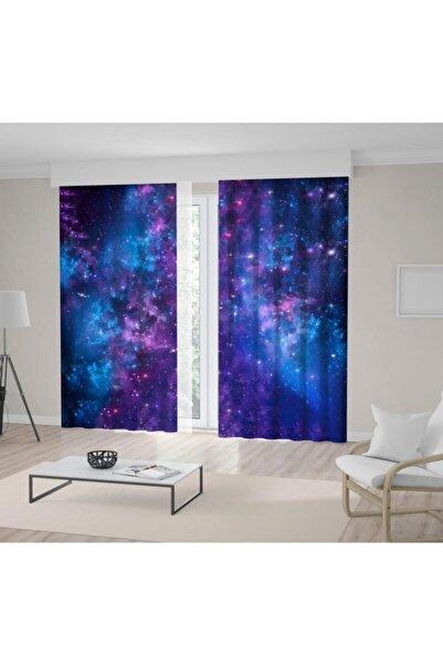 Henge Home Gece Gökyüzü Yıldız Renk Geçiş Desenli Mavi Mor Fon Perde