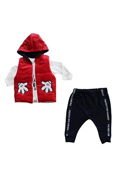 bebegen Erkek Bebek  Kırmızı Yelekli Badili Takım 3'lü