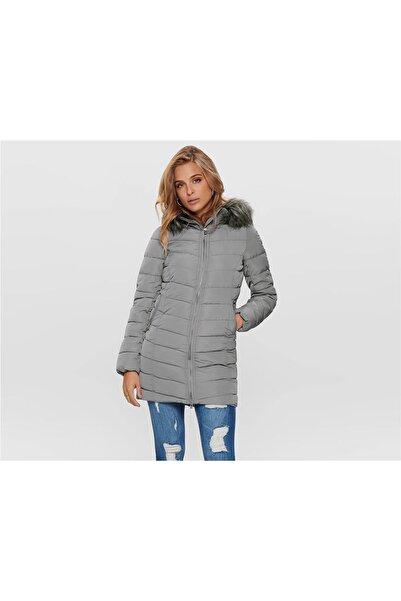 Only Onlellan Quılted Hood Fur Coat Otw Kadın Mont Silver Filigree