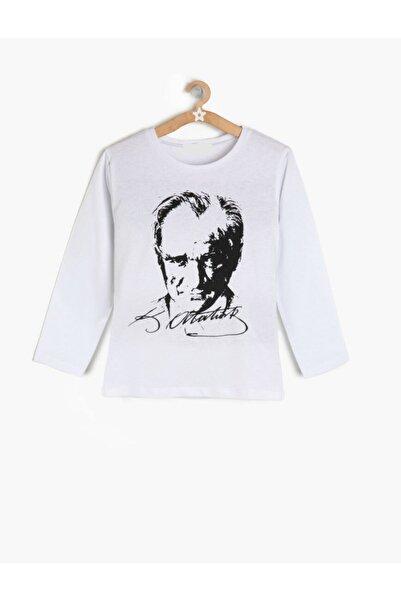 maşidem kostüm Unisex Çocuk Beyaz Atatürk Tişört Uzun Kollu