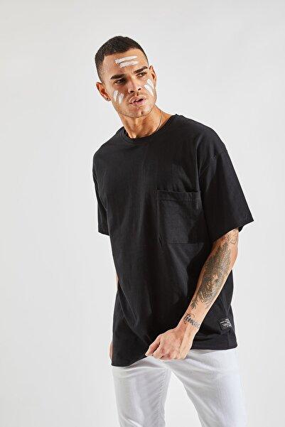 Zafoni Erkek Oversize Cepli Siyah Tişört