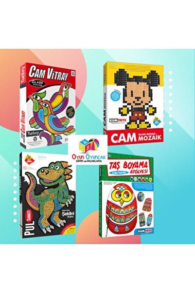 Kumtoys 4 Lü Set Cam Vitray - Cam Mozaik- Pul Sanatı - Taş Boyama
