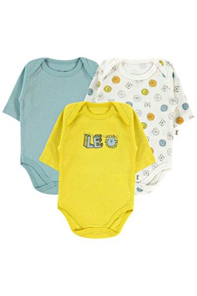 Civil Baby Erkek Bebek Ekru 3 'lü Çıtçıtlı Badi 0-24 Ay