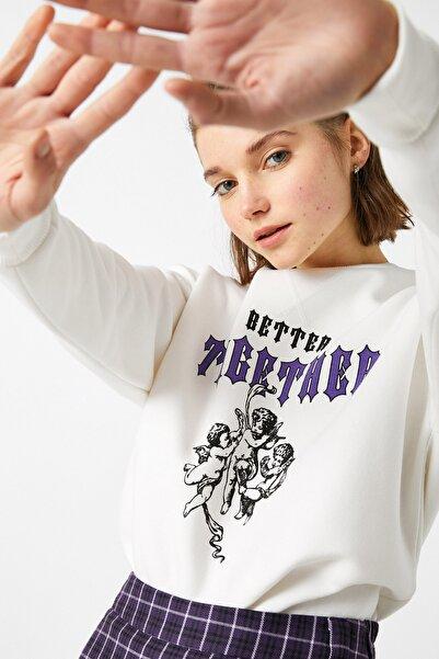 Koton Kadın Ekru Sweatshirt 1YAL68010IK