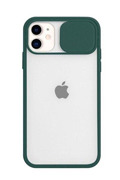 zore Yeşil Iphone 11 Slayt Kamera Lens Korumalı Telefon Kılıfı