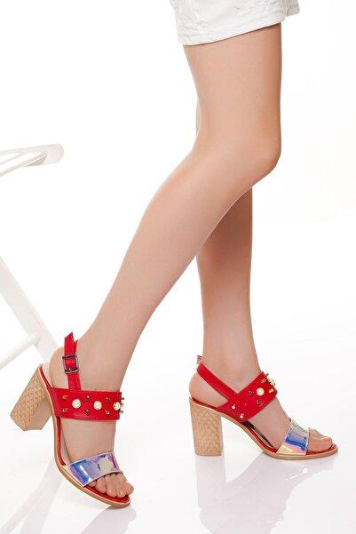 derithy Kadın Kırmızı Klasik Topuklu Ayakkabı