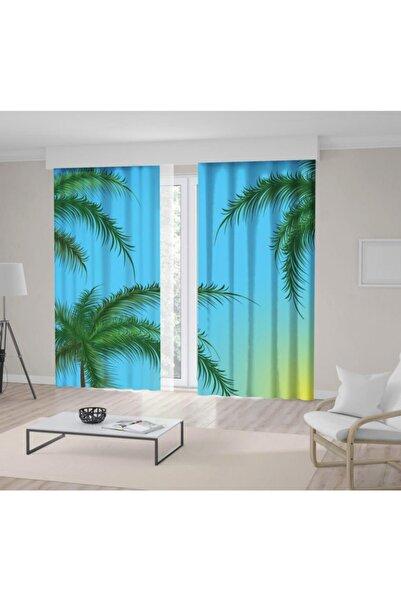 Henge Home Yeşil Tropikal Ağaç Mavi Gökyüzü Desenli Fon Perde