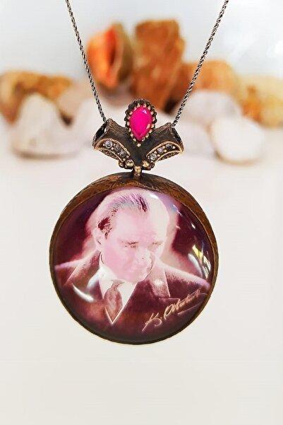 Antik silver 925 Ayar Gümüş Otantik Mustafa Kemal Atatürk Resimli Kolye