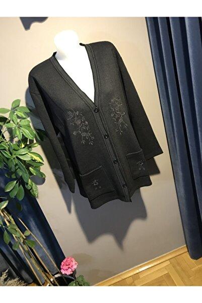 zeynep Kadın Siyah Çelik Örgü Işlemeli Ceket