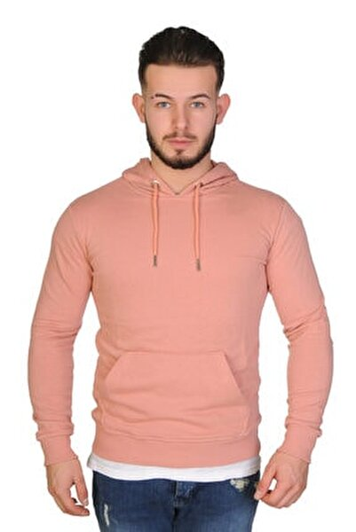 Erkek Pudra Kapüşonlu Kanguru Cepli Sweatshirt