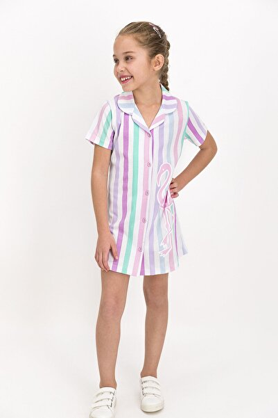 U.S. Polo Assn. U.s. Polo Assn Lisanslı Striped Beyaz Kız Çocuk Elbise