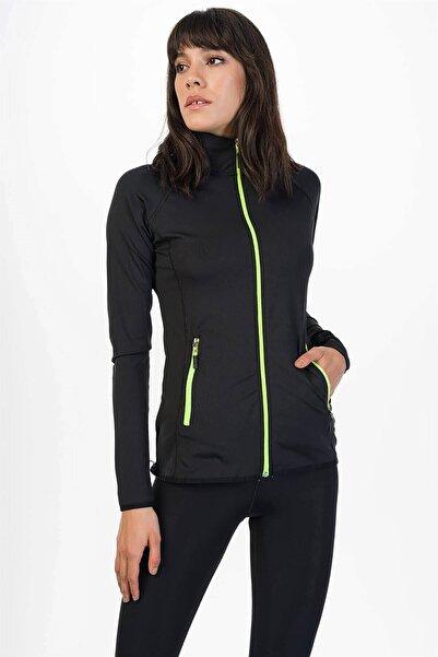 Mossta Kadın Siyah Neon Detaylı Sporcu Taytlı Eşofman Takım