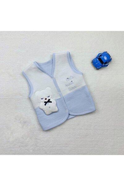 Gaye Bebe Erkek Bebek Mavi Ayıcık Yelek