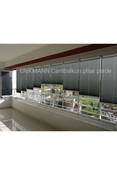 ERİKMANN Cam Balkon Perdesi Yapıştırmalı Plise Perde Antrasit Profil Antrasit Kumaş 50 X 163 Cm